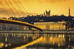 View of Saone river at Lyon at sunset Stock Photos