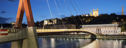 View of Saone river by night Stock Image