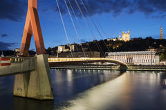 View of Saone river by night Stock Photos