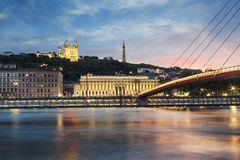 View of Saone river at sunset in Lyon city Stock Photo