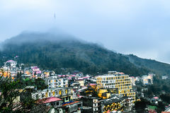 View of Sapa city  in the Evening, Sapa, Lao Cai, Vietnam Royalty Free Stock Photos