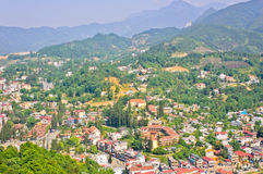 View of Sapa town. From Ham Rong mountain, Vietnam stock images