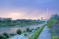 View of Saragossa and its river in a raining day Royalty Free Stock Photography
