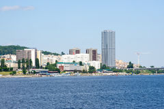 View on Saratov city from Volga river Russia Royalty Free Stock Images