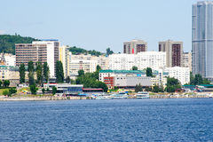 View on Saratov city from Volga river Russia Royalty Free Stock Image