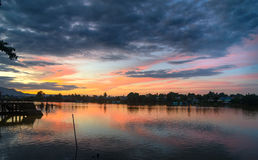 View Sarawak river in Kuching city at sunset Royalty Free Stock Image