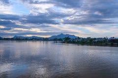 View Sarawak river in Kuching city at sunset Royalty Free Stock Photography