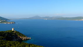 View of Sardinia from capo di Caccia, Sardinia, Italy Stock Photos