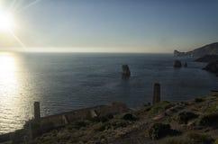 The Sardinian coastline near Nebida Stock Photography