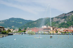 View of Sarnico from Lake Iseo stock image