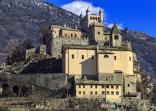 View of Sarriod de la Tour Castle, Aosta Valley Royalty Free Stock Image