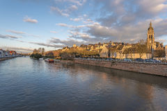 View of Sarthe River and Le Mans historic area Stock Photography