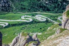View from Sass Pordoi peak in Dolomiti Stock Images