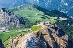 View from Sass Pordoi peak in Dolomiti Royalty Free Stock Photos