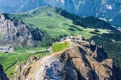 View from Sass Pordoi peak in Dolomiti Royalty Free Stock Photos