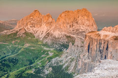 View from Sass Pordoi peak in Dolomiti Stock Photography