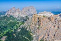 View from Sass Pordoi peak in Dolomiti Stock Photos