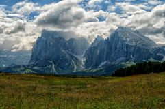 View of the Sassolungo Langkofel and Sassopiatto Group of the Italian Dolomites from Alpe di Siusi in Val Gardena. Stock Image