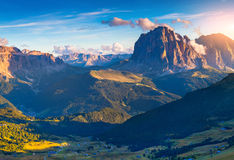 View on the Sassolungo (Langkofel) and Sella group, valley Garde Royalty Free Stock Images