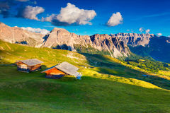 View on the Sassolungo (Langkofel) and Sella group, valley Garde Stock Photo