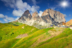 View on the Sassolungo (Langkofel) from the Sella pass Royalty Free Stock Photography
