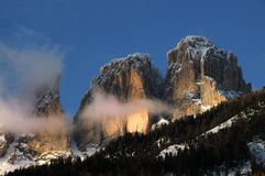View of the Sassolungo (Langkofel) Group of the Italian Dolomites Royalty Free Stock Image