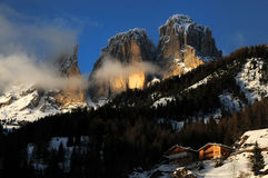 View of the Sassolungo (Langkofel) Group of the Italian Dolomites Royalty Free Stock Images