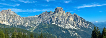 View of Sassongher, Alta Badia - Dolomites. Majestic view of Sassongher, mountain symbol of Corvara Royalty Free Stock Photography
