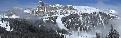 View of Sassongher, Alta Badia - Dolomites. Majestic winter view of Sassongher, Dolomites - Italy stock images
