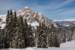 View of the Sassongher with snow in the Italian Dolomites Royalty Free Stock Photos