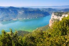 View of Sau reservoir in autumn. Catalonia,  Spain Stock Photos