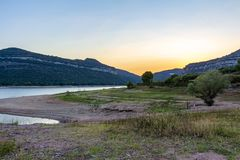View of Sau reservoir after sunset royalty free stock image
