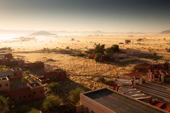 View of the savanna and camp. Africa. Namibia. Stock Photography