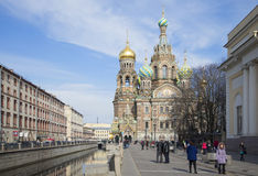 View of Savior on Blood on the Griboyedov canal embankment . St. Petersburg Royalty Free Stock Photography