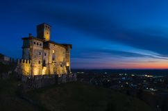 Night view of the Savorgnan's Castle in Artegna. View of the Savorgnan's Castle in Artegna, Friuli, after the sunset blue hour royalty free stock photos