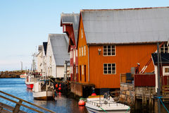 View of scandinavian fishing village,  Bud, Norway Royalty Free Stock Images