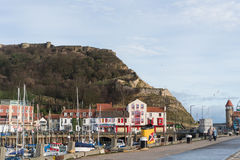 View of Scarborough Castle from Harbour Front Stock Photo