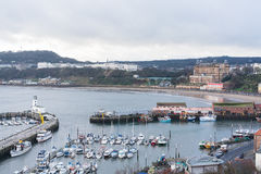 View of Scarborough Harbour and beach Royalty Free Stock Photography