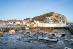 View of Scarborough Harbour and Castle Stock Image