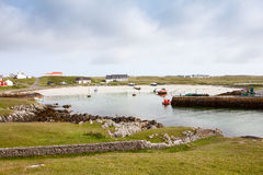 View of Scarinish Harbour Tiree Scotland from harbour entrance Stock Images