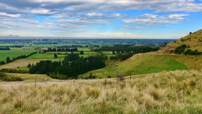 View of scenic Canterbury Plains from Lees Valley in New Zealand Stock Images