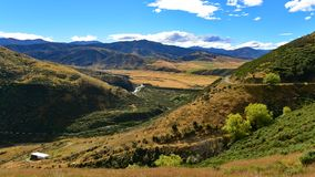 View of scenic Lees Valley in New Zealand. View of scenic Lees Valley in Canterbury, New Zealand Stock Photo