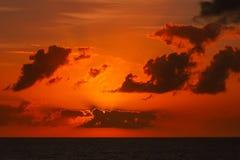 Scenic seascape sunset. Orange sky. royalty free stock photo