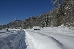 View of scenic winter landscape in the Bavarian Alps Royalty Free Stock Photography