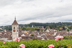 View of Schaffhausen old town  from garden Stock Photo