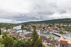 View of Schaffhausen old town and the Rhine river on a cloudy da Royalty Free Stock Photos
