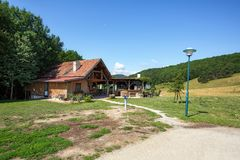 View of the Schafhuett`n restaurant in the nature protection area Foehrenberge. Town of Giesshuebl, Lower Austria stock photos