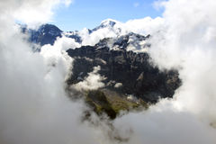 View from the Schilthorn on snowy Swiss mountains Royalty Free Stock Photos