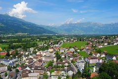 View from Schloss Vaduz. Royalty Free Stock Photo