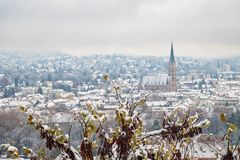 View from Schlossberg in Graz to Herz-Jesu-Church in winter. View from Schlossberg in Graz to Herz-Jesu-Church with some snow in winter stock photo